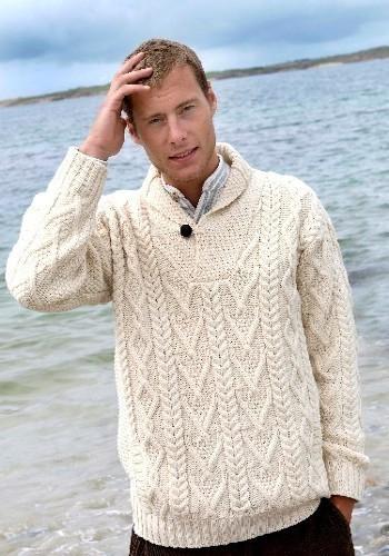 Shawl Collar Irish Wool Sweater Made In Ireland