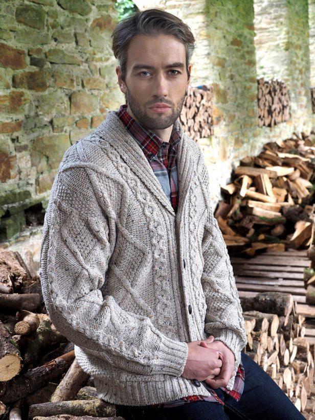 5c02ff20700f7 Men s Shawl Collar Cardigan ~ Aran Craft Irish Sweater