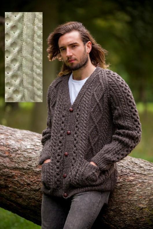 Irish Wool Hand Knit Mens Cardigan Made In Ireland