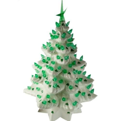 Ceramic Christmas Tree With Lights.Light Up Ceramic Christmas Tree With Shamrocks