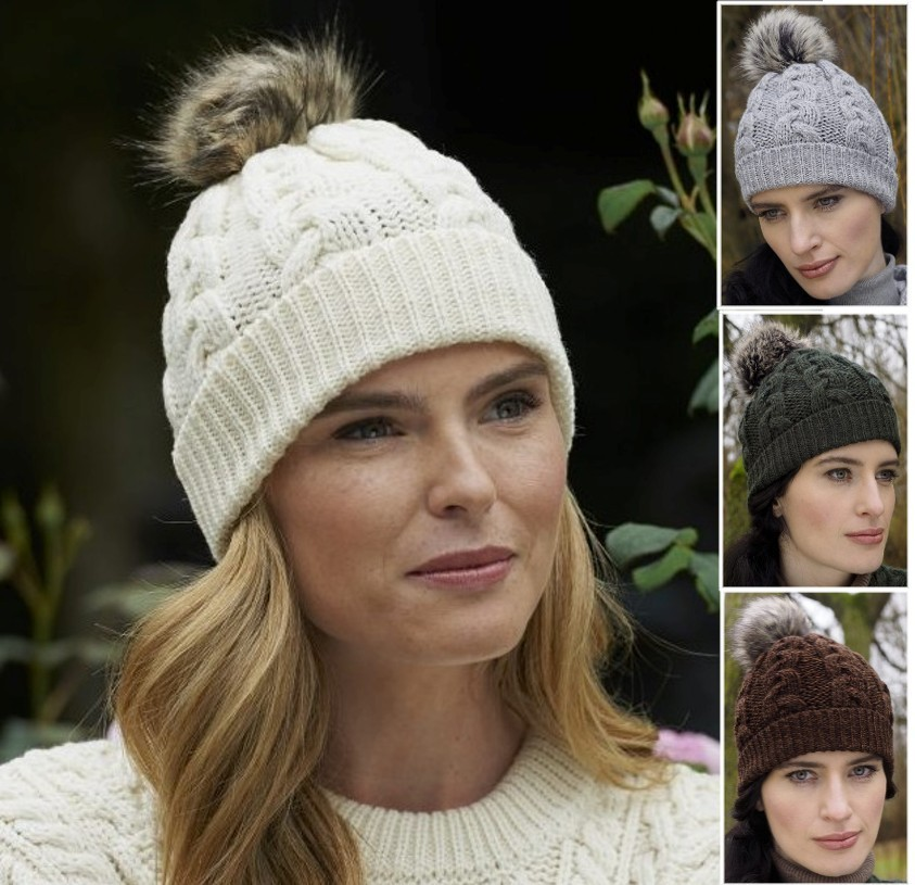 5bab1d255f1 Irish Wool Cable Knit Hat With Faux Fur Pom