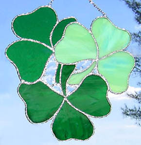 3 Irish Shamrocks Stained Glass Suncatcher