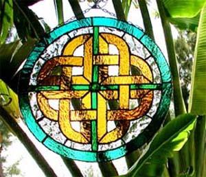 Celtic Knot Sun Catcher - Teal & Gold