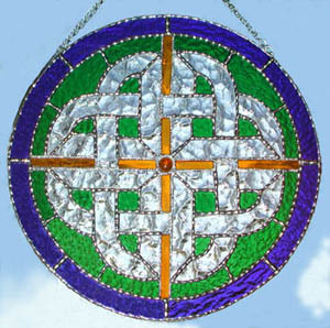 Celtic Knot Sun Catcher with Blue Border
