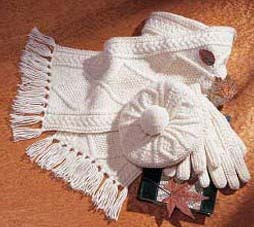 Child's Irish Wool Hand Knit Scarf, Hat and Mitten Set