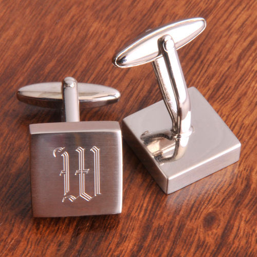Personalized Harrison Silver Square Cufflinks