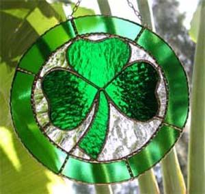 Stained Glass Green Border Shamrock Suncatcher