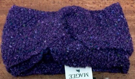Magee Irish Wool Snood Headband in Purple