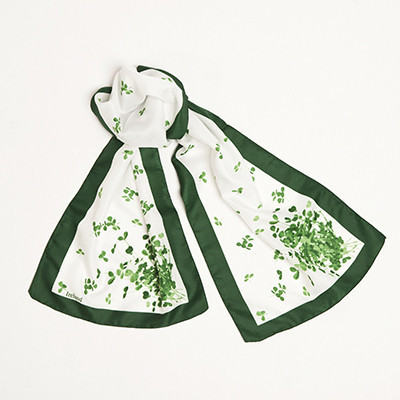 Long White With Shamrock Sprig Scarf