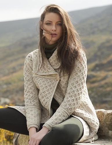 Irish Wool Single Button Plated Sweater Coat