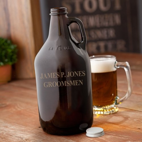 Personalized 64oz Amber Beer Growler