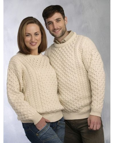Traditional Aran Crew Neck Wool Sweater