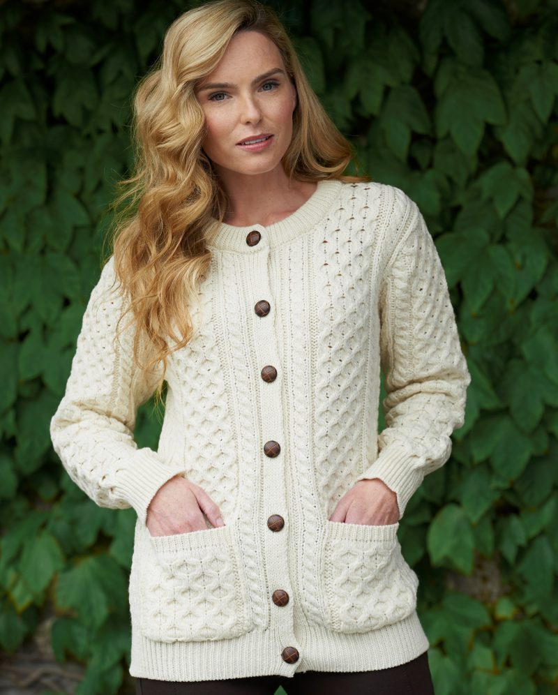 Ladies Irish Knit Button Down Cardigan ~ Lumber Jacket