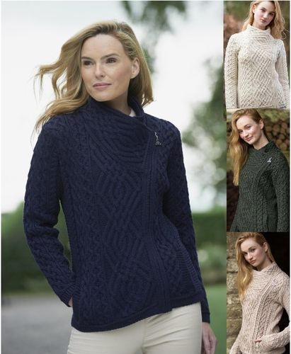 Side Zip Cable Irish Sweater Jacket ~ Aran Crafts