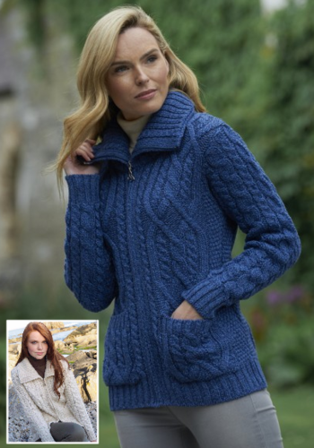Ladies Irish Wool Zipper Sweater