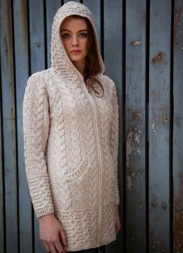 Aran Crafts Hooded Zipper Coat