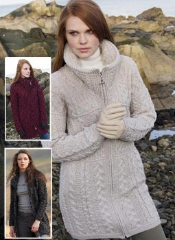 Merino Wool Double Collar Sweater Coat ~ Aran Crafts