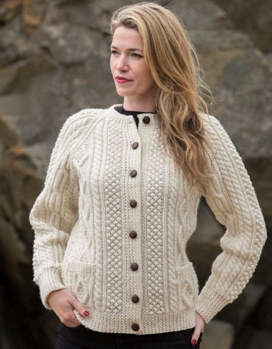 Hand Knit Ladies Irish Wool Cardigan Sweater