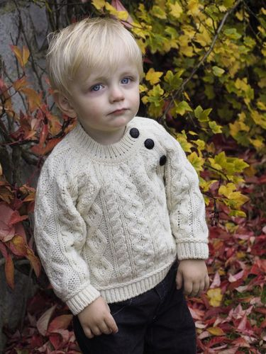 Baby Button Crewneck Sweater ~ Made in Ireland