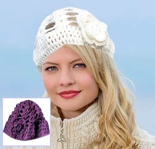 Hand Knit Irish Wool Lucy Hat ~ Magee Of Donegal