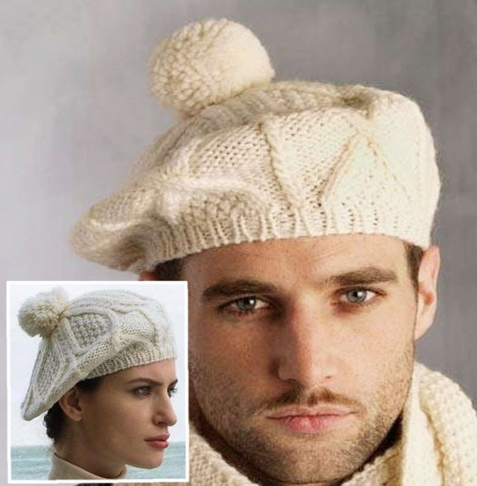 Hand Knit Irish Wool Tam Hat