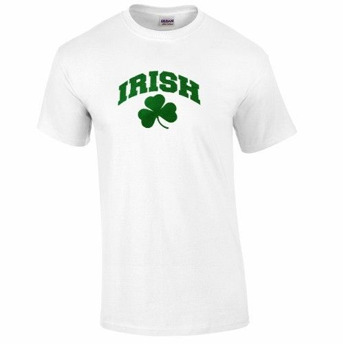 Irish White Short Sleeve Shamrock T Shirt