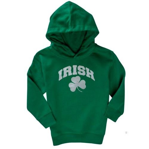 Irish Green Hooded Sweatshirt With Shamrock