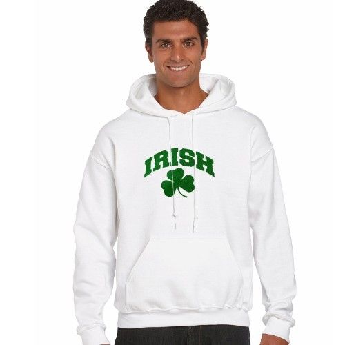 Irish White Hooded Sweatshirt With Shamrock