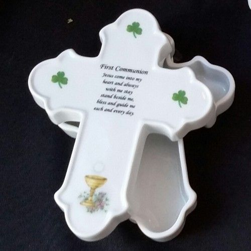 Communion Cross Box With Shamrocks