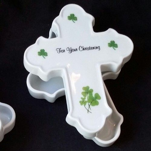 Christening Cross Box With Shamrocks
