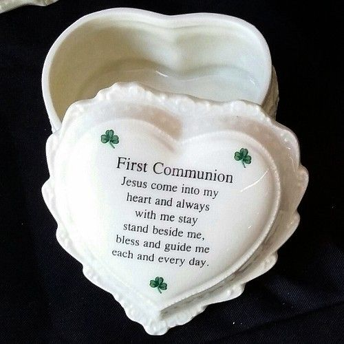 First Communion Heart Trinket Rosary Box