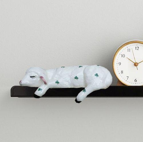Large Lamb Ceramic Shelf Animal With Shamrocks