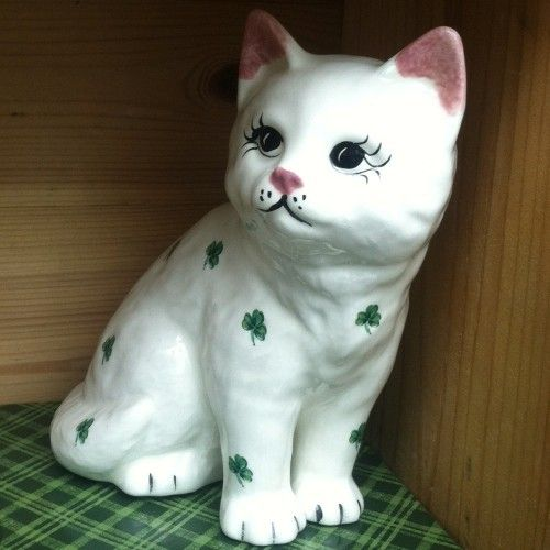 Sitting Cat Statue Irish With Shamrocks