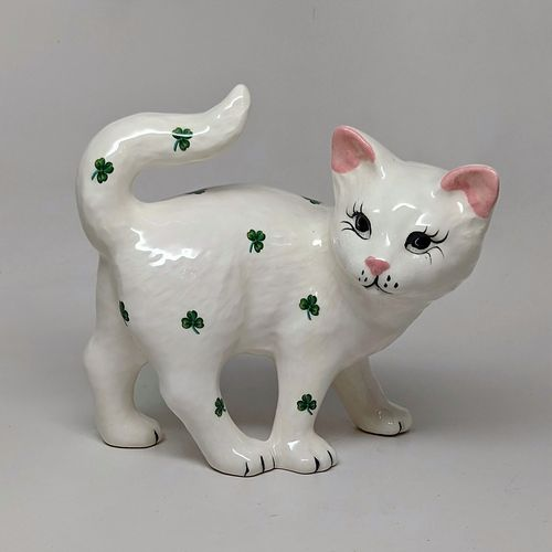 Ceramic Walking Cat With Shamrocks