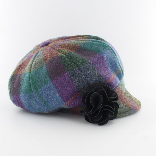 Mucros Weavers Ladies Plaid Newsboy Cap ~ Purple Blue