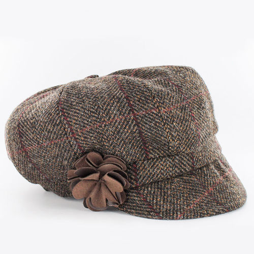 Mucros Weavers Irish Wool Newsboy Cap ~ Brown