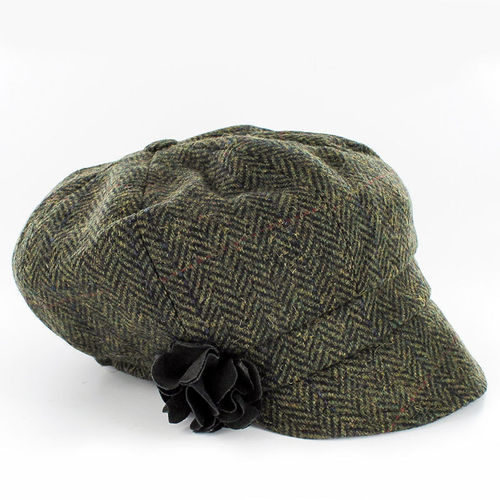 Mucros Weavers Herringbone Ladies Newsboy Cap ~ Green Brown