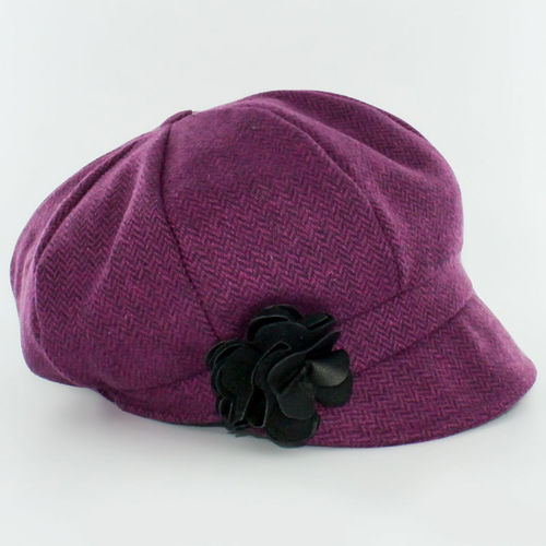 Mucros Weavers Herringbone Ladies Newsboy Cap ~ Raspberry