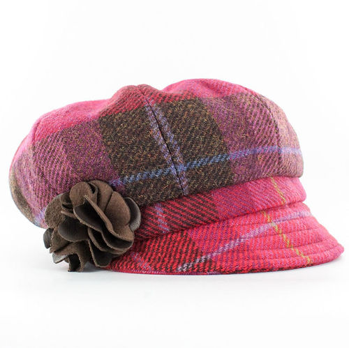 Mucros Weavers Ladies Newsboy Cap ~ Pink Plaid