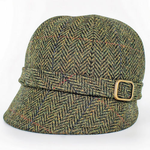 Mucros Weavers Herringbone Flapper Cap ~ Green Brown