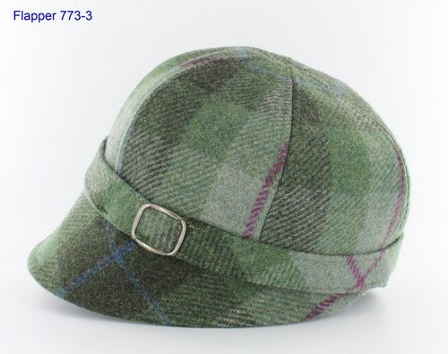 Mucros Weavers Flapper Cap ~ Light Green Plaid