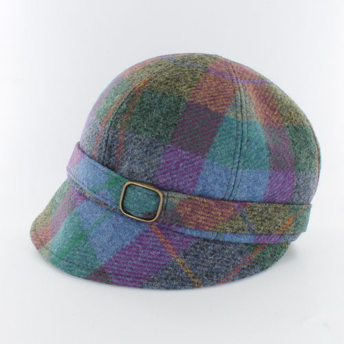 Mucros Weavers Flapper Cap ~ Rose Blue Plaid