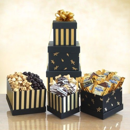 Black & Gold Chocolate Gift Tower