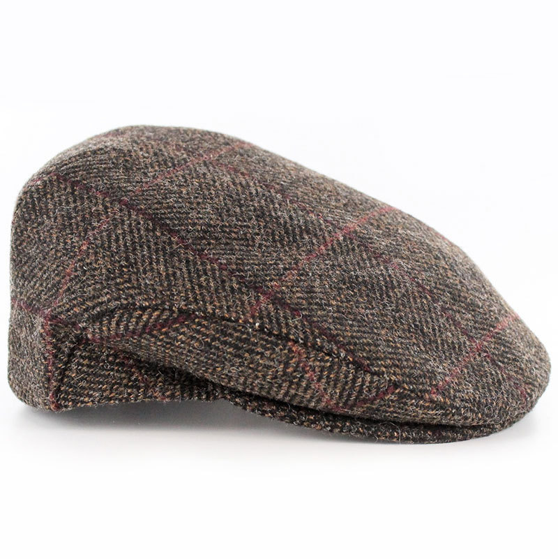 Brown Herringbone Irish Wool Trinity Cap ~ Mucros Weavers