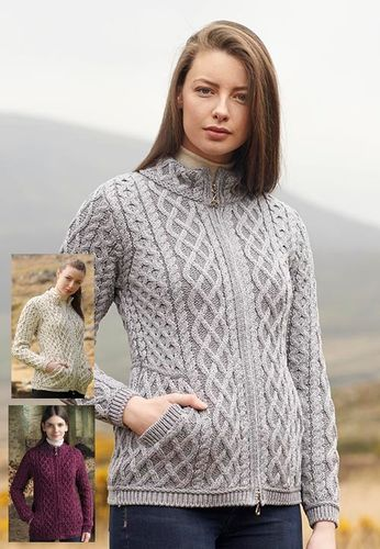 Plated Irish Wool Zipper Cardigan