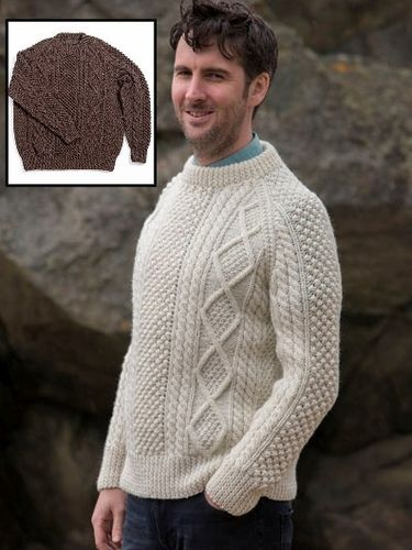 Hand Knit Irish Wool Crewneck Sweater in Bainin or Blacksheep