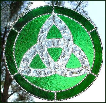 Trinity Green Handcrafted Stained Glass Suncatcher