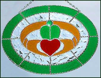 Irish Claddagh Design Stained Glass Sun Catcher