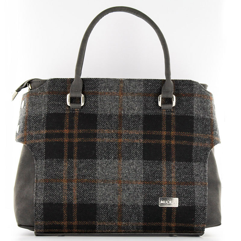 Black Grey Plaid Hand Bag - Mucros Weavers
