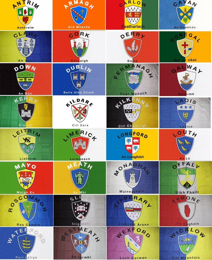 Set of 32 Ireland County Crest Flags ~ 3' X 5'